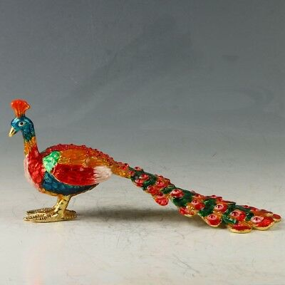 Chinese Cloisonne Inlay Rhinestone Hand Carved Peacock Statue Jewelry Box MY0480