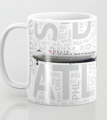 Delta Airlines MD-88 with Airport Codes - Coffee Mug (11oz)