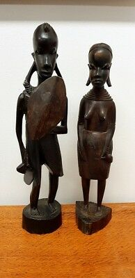 Set of Wooden Pupa New Guinean Statues Tribal Man and Lady
