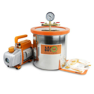 BACOENG 11.4L Stainless Steel Vacuum Chamber & 3CFM 1/4HP Vacuum Pump UK Plug