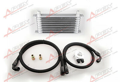 Universal 10 Row Oil Cooler Kit Aluminum Turbo Na Turbo Supercharger Silver