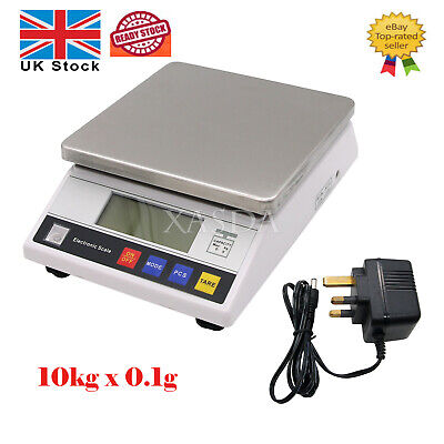 Large Digital LCD Scale Electronic Food Balance Scale Lab Weigh 10kg x 0.1g UK**