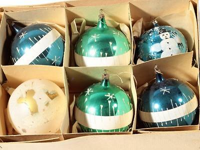(6) lge vintage Czech blown glass hand decorated Christmas tree bauble ornaments