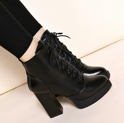 Women's Lace Up Chunky High Heel Ankle Boots Platform Casual Shoes Bootie new