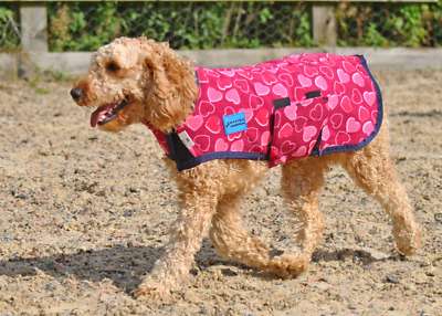 Maxima Fleece Dog Coat - Pink Hearts - 6 Sizes