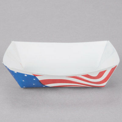USA Flag 2 LB Paper Food Boat Trays Take Out Basket Holder Container - 200ct