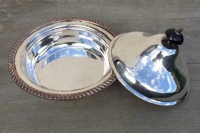 Victorian Antique Silver Plate on Copper Entree Tureen Oval Serving Dish & Lid