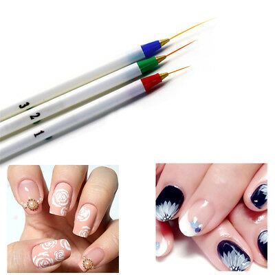 3Pcs/Set Acrylic French Nail Art Pen Brush Painting Drawing Liner Manicure Tool/