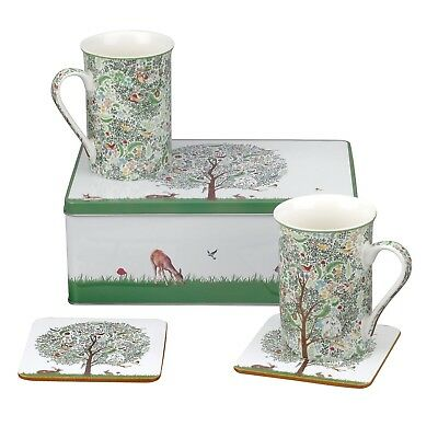 NEW Portmeirion Enchanted Tree 5 Piece Mug Set | 2 Mugs & 2 Coasters in Gift Tin