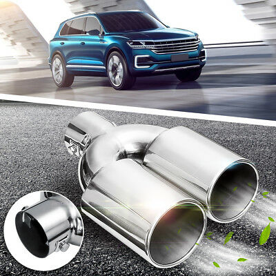 Universal 60MM Chrome Car Twin Dual Exhaust Muffler Tail Pipe Stainless Steel UK