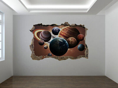 Planets of the solar system photo Hole in wall sticker wall mural(50430105)Space