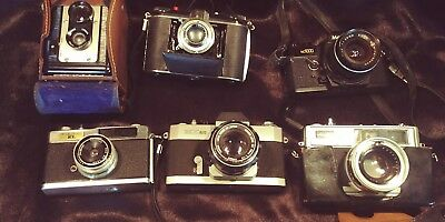 Lot Of 6 Vintage Cameras Untested Argus, Canon, Minolta, Ansco ++