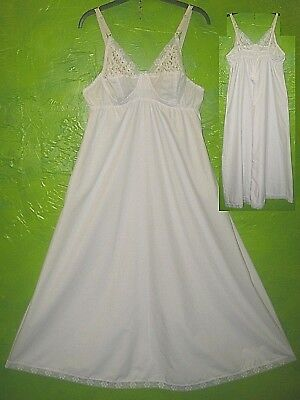 Bn Vintage White Polycotton Lacey Shaped Bra Top Full Length A-Line Nightie Uk20