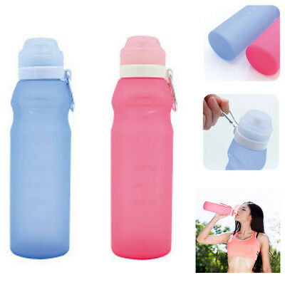 400/600ml Collapsible Silicone Water Bottle Foldable Outdoor Sport Hiking Hot UK