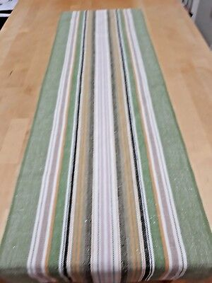 Woven Swedish green, orange and white stripped table runner