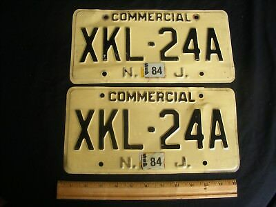 2 Matched Set Vintage 1980's New Jersey Commercial Truck Auto Licence Plate Pair