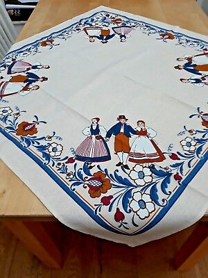 Swedish printed cotton tablecloth with people in national dress
