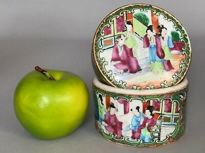 A Chinese Canton famille rose circular box with court scenes 19thc Qing