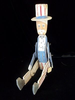 Vintage Style Folk Art Wood Uncle Sam Jointed Movable Shelf Sitter 4th July