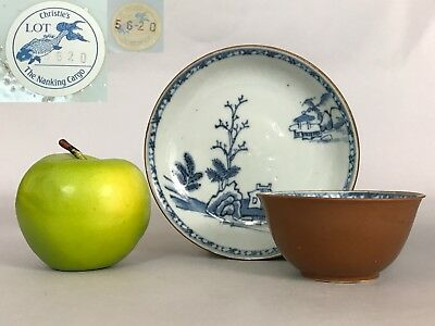 A Chinese Christie's Nanking cargo blue & white Batavia cup & saucer 18thc