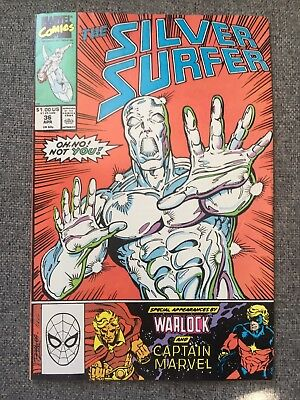 The Silver Surfer Issue 36 Warlock Captain Marvel Comic 1990