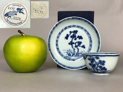 A Chinese Christie's Nanking cargo blue & white cup & saucer 18thc