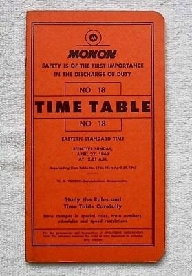 MON - Monon Railroad Company System Timetable #18 April 27, 1969