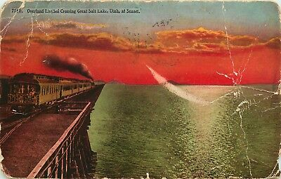 Overland Limited Crossing Great Salt Lake, Utah, UT, 1913 Vintage Postcard d6266