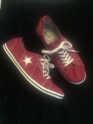 Womens Converse One Star Red Canvas Shoes Size 10