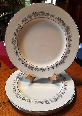"4 Vintage Lenox Fine China Promise 10.5"" Dinner Plates with Platinum Rim EUC"