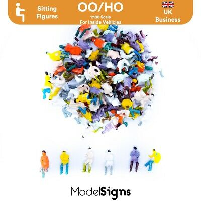 UK 100x Sitting Figures Passengers for trains/cars OO HO Scale OOPAS ModelSigns