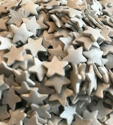 Large Silver Star Sprinkles with Shimmer, Edible Cake Topper