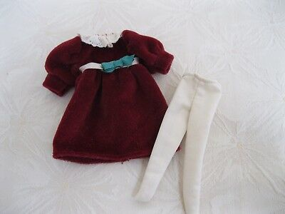 """Madeline 8"""" Doll Outfit Burgundy Velour Dress Crocheted Collar Ecru Tights Exc!!"""