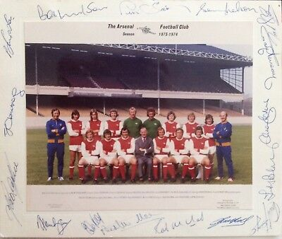 ARSENAL team photo hand signed by all the team 1973/74
