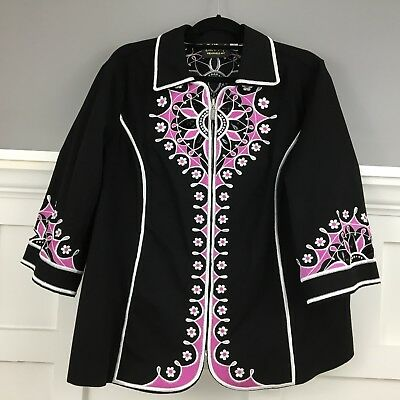 Bob Mackie Wearable Art Womens Black Cut Out Embroidered Blazer 1X Pre-owned