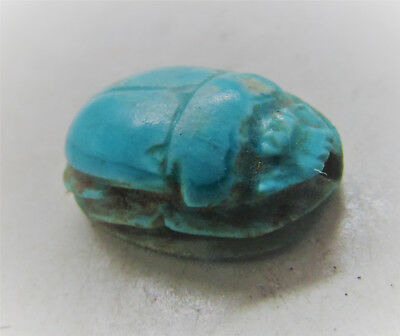 Circa 664-332Bc Ancient Egypt Glazed Faience Scarab Seal Amulet W/heiroglyphics
