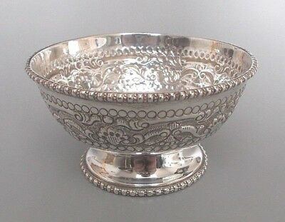 Vintage East Asian solid silver footed bowl - marked 'silver' (95g)