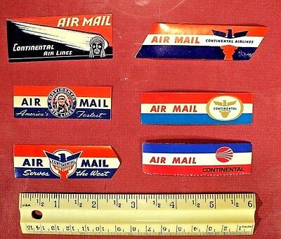 Continental Airlines, 6 Different, Vintage  Air Mail Stickers, FREE SHIPPING !