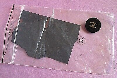 Chanel Boutique Vintage Replacement Shank Button & Fabric Swatch Black Signed