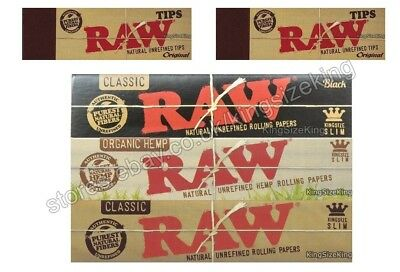 Raw King Size Classic, Organic & Black Rolling Papers Kingsize Paper Set & Tips