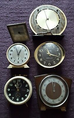 6 Vintage Clocks For Spares Or Repair Westclox, Peter, Bentima Bow Bell etc