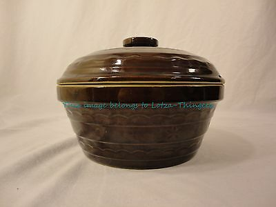 Marcrest Brown Glossy Daisy Dot Stoneware Oven Baker w/ Lid 1.5 Qt