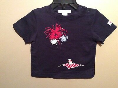 Baby Boys Janie and Jack Navy Blue Firecracker Dog T-Shirt Top Size 3-6 Months