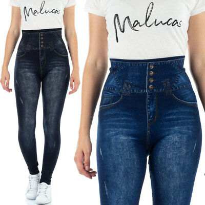 196bc0482d15f1 MALUCAS SPORTS Damen Leggings High Waist Skinny Jeans-Look Leggins Corsage  Yoga