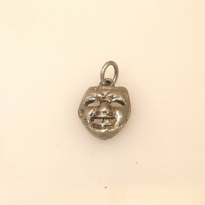 VINTAGE Silver SMALL COMEDY MASK Bracelet CHARM Antique Estate Old Theater VS01T
