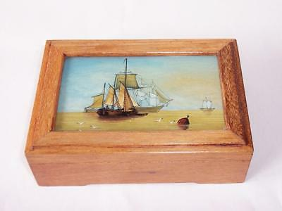 Vintage WOODEN TRINKET BOX Reverse Painted Glass Lid - Maritime / Sail Boats