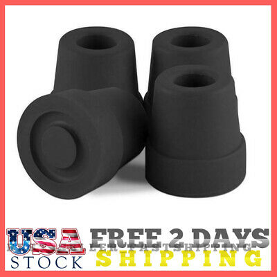 Cane Tips 1/2 Inch Size Premium Walking Quad Rubber Base Black For Anti Skid Set