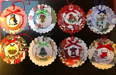 8 hand crafted christmas cross stitched completed gift tags. Card toppers