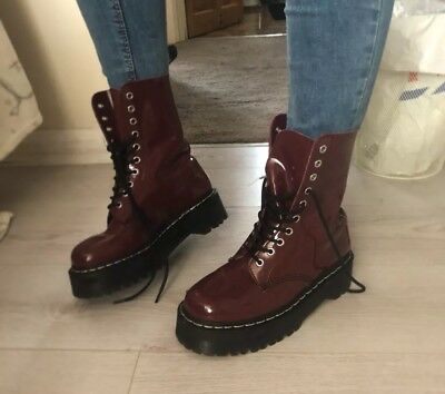 Dr Martens Agyness Deyn Aggy 10 Eyelet Cherry Red Patent Leather Boots - UK 6.