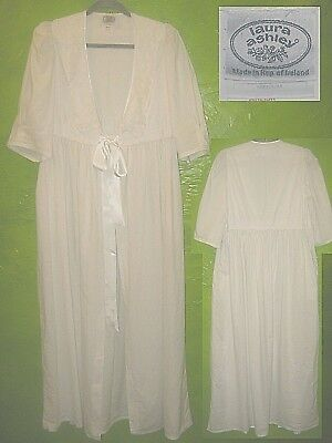Vintage Laura Ashley 100% White Cotton Dressing Gown Robe Lace Collar Romantic M